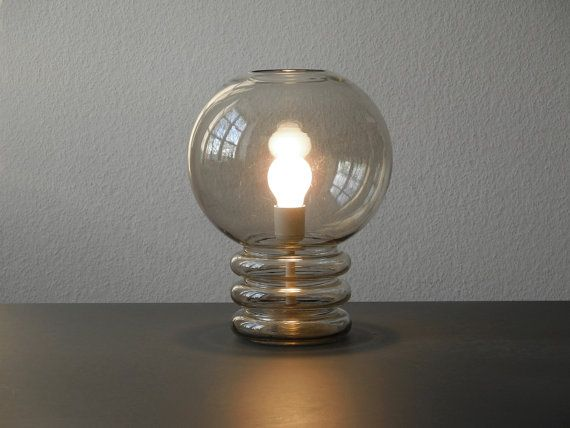 Great 70s Glashütte Limburg clear glass bubble moon lamp table lamp