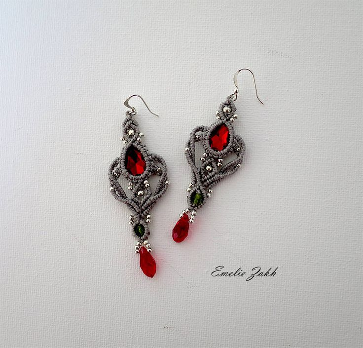 Earrings micromacrame.Boho earrings style.Macrame work earrings. Red beads macrame earrings. Macrame weaving jewelry.Chandelier earring
