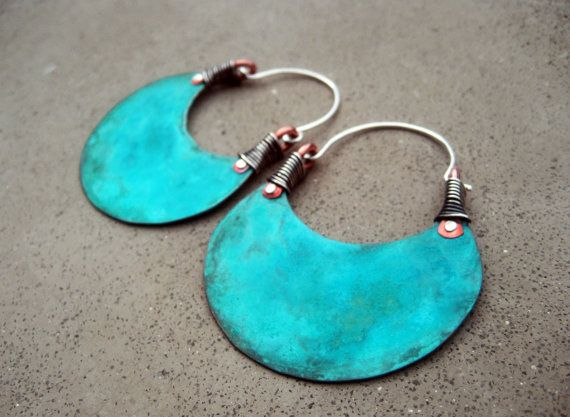 African Beauty in Turquoise, Big Hoop Earrings, Eye Catching, Boho, Hip, Ethnic, Mixed Metal