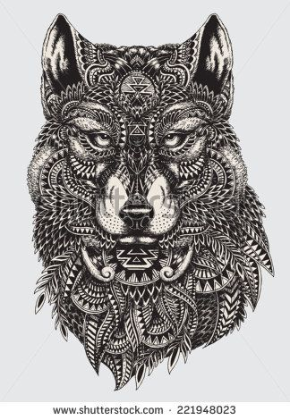 Highly detailed abstract wolf illustration - stock vector