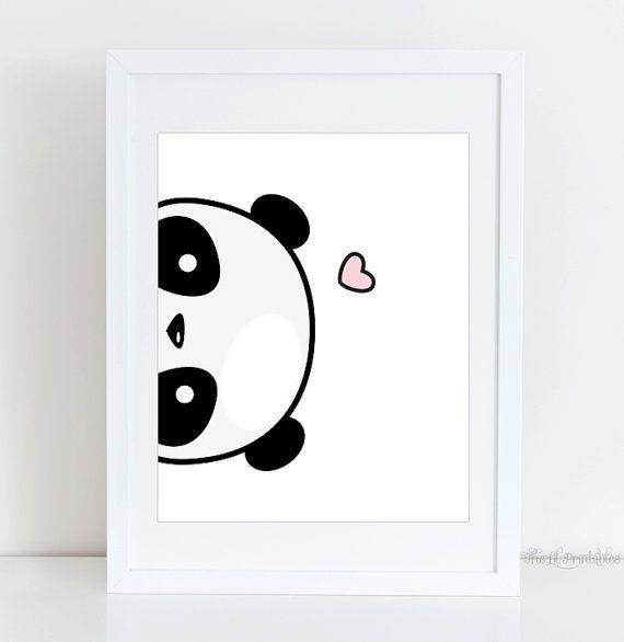 Seitlich Panda, die druckbare, süße Panda Druck, Wand Kawaii Panda druckbare, Kindergarten, Dekor, Teen Wandkunst, druckbare Haus Wand, Wand-Kunst-Druck