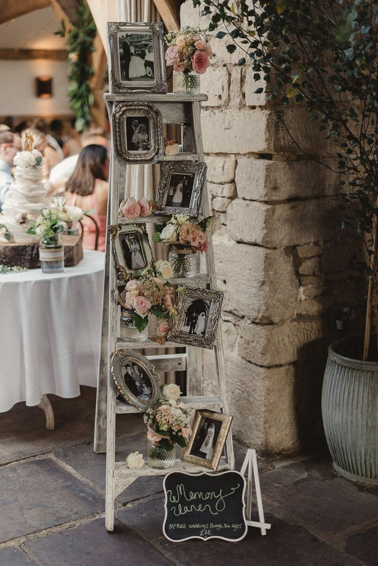 Ladder Decor Family Photographs Whimsical Floral Blush Grey Wedding  Https://www.scuffinsphotography