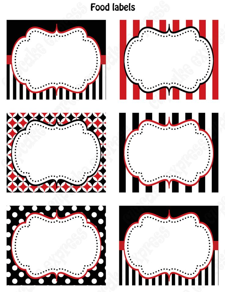 DIY Pirate  Birthday Party  PRINTABLE Food Labels favor tags Red black white  polka dots stripes