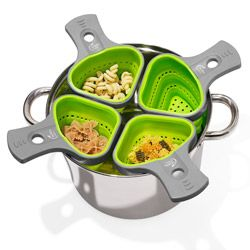 Cook and strain up to four healthy pasta portions in a single pot--or satisfy the tastes of a picky brood--with these collapsible silicone baskets.