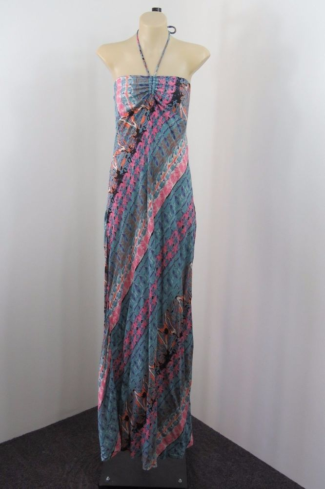 NWT Size S / 10 ISHKA Ladies Halter Maxi Dress Casual Boho Chic Gypsy Hot Design