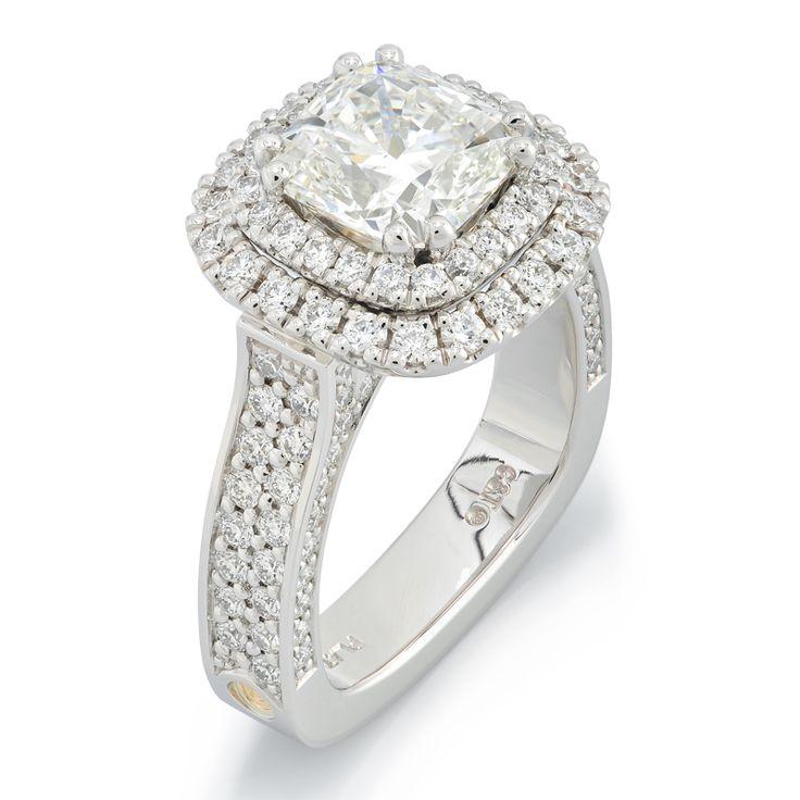 Big Cheap Wedding Rings: Empress Cushion Cut Diamond Double Halo Platinum