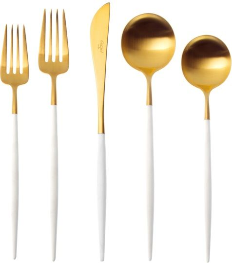Goa Cutlery White Handle   Brushed Gold  Contemporary, MidCentury  Modern, Metal, Resin  Composite, Tabletop by Horne