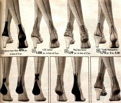 Retro Vintage Seamed Stockings- 1930s, 1940s, 1950s Styles. These charming heel designs were popular in the 1950s. http://www.vintagedancer.com/1950s/1950s-style-tops-blouses/