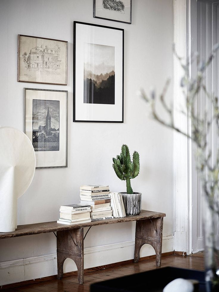 vintage bench for displaying books and plants
