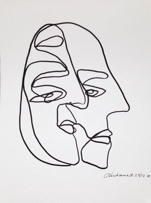 Christiane spangsberg · blind drawingcontour drawingoutline artdrawing facesart