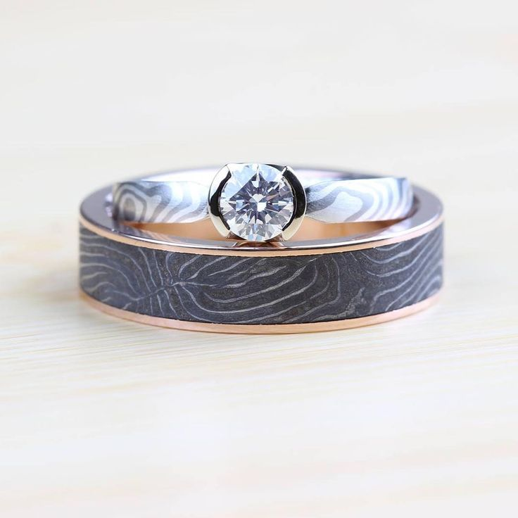 mokume engagement of white gold silver paired with our