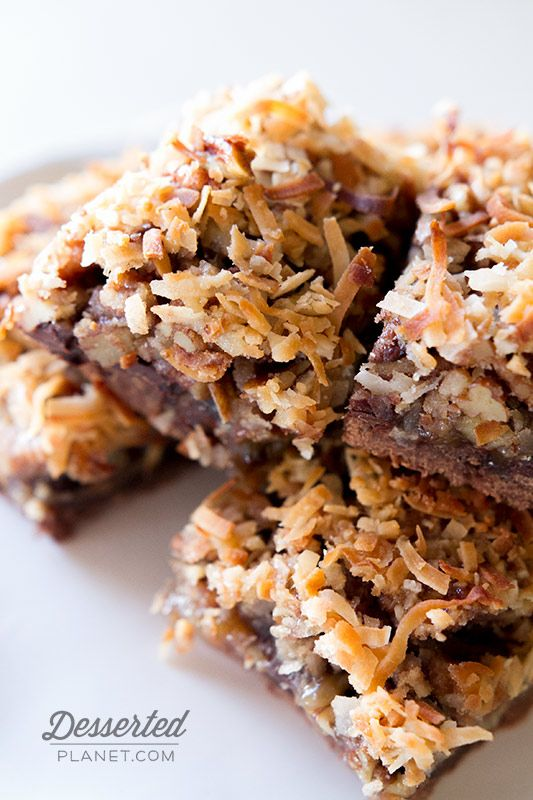 Ghirardelli German Chocolate Pecan Pie Bars - your favorite pie in the form of an easy to eat bar!