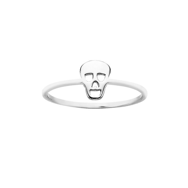 Mini Skull ring - $59. Thin and delicate ring crafted in 925 sterling silver, with small skull feature detail. KW and 925 stamped on the inside of ring. Lovingly created by New Zealand clothing and accessories designer label Karen Walker. www.savethelastpinker.com.au/shop/mini-skull-ring/