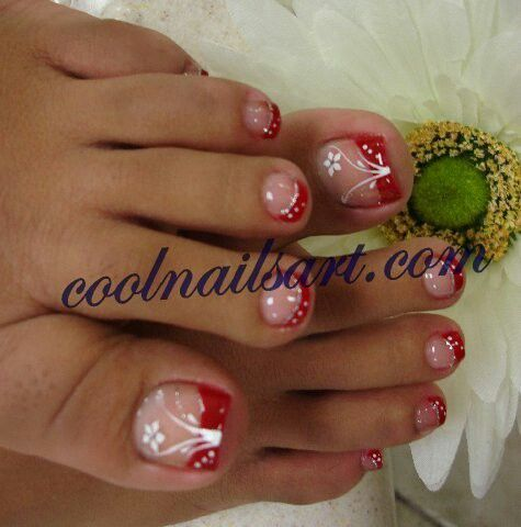 Pretty Painted Fingers| Toes Nail Lacquer| Nail Art Red and White| Romantic Toe Art| Serafini Amelia