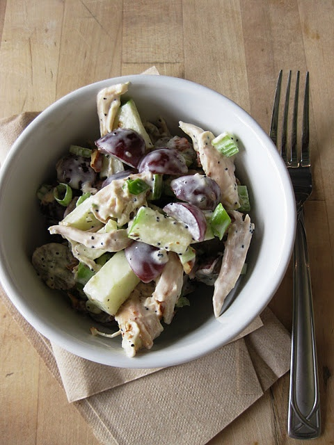 Chicken salad with grapes and apples-looks yummy :)