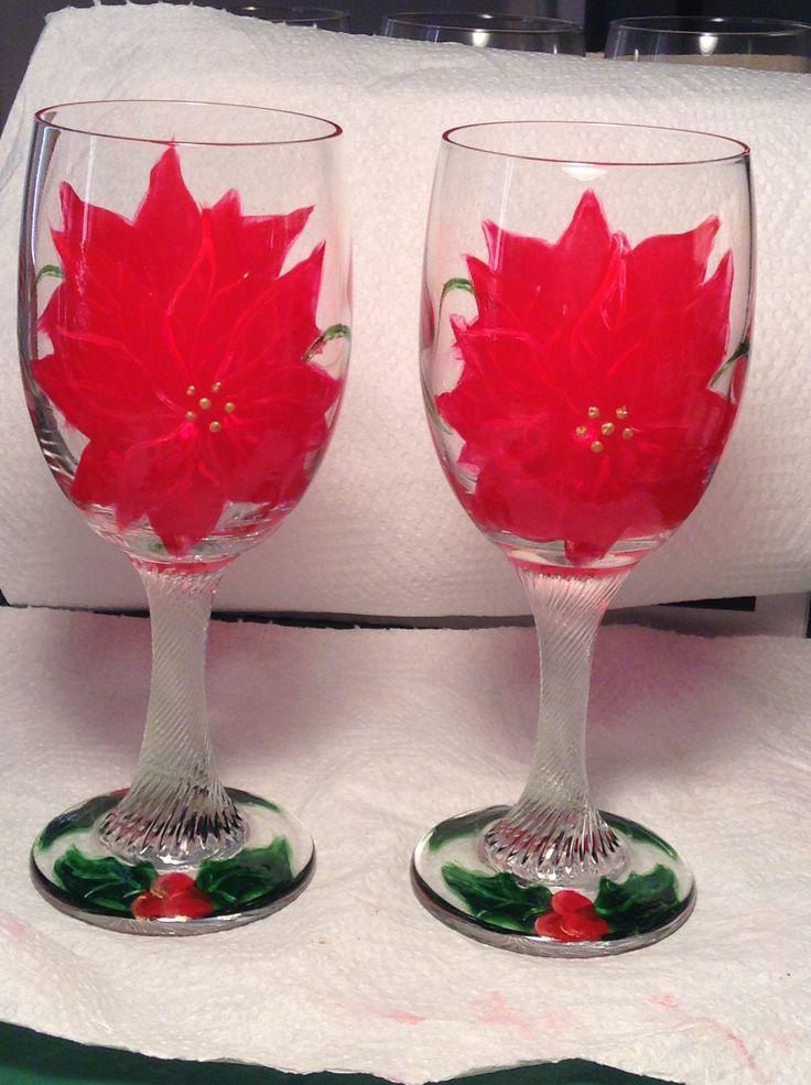 Poinsettia wine glasses I painted