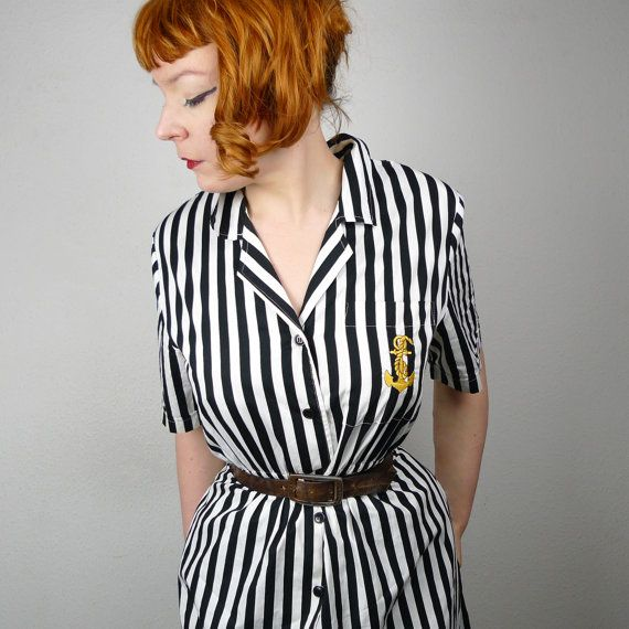 80s ANCHOR shirt dress striped vintage sailor by SartorialMatters, £28.00