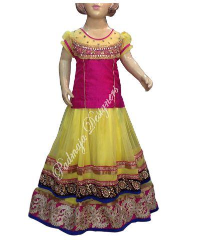 Soft net with cundan and work border cut work border raw silk work border. for 8 year baby price Rs.8500/- #parikini