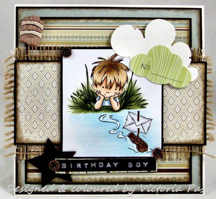 LOTV - By the river stamp - Great idea using burlap on a masculine card