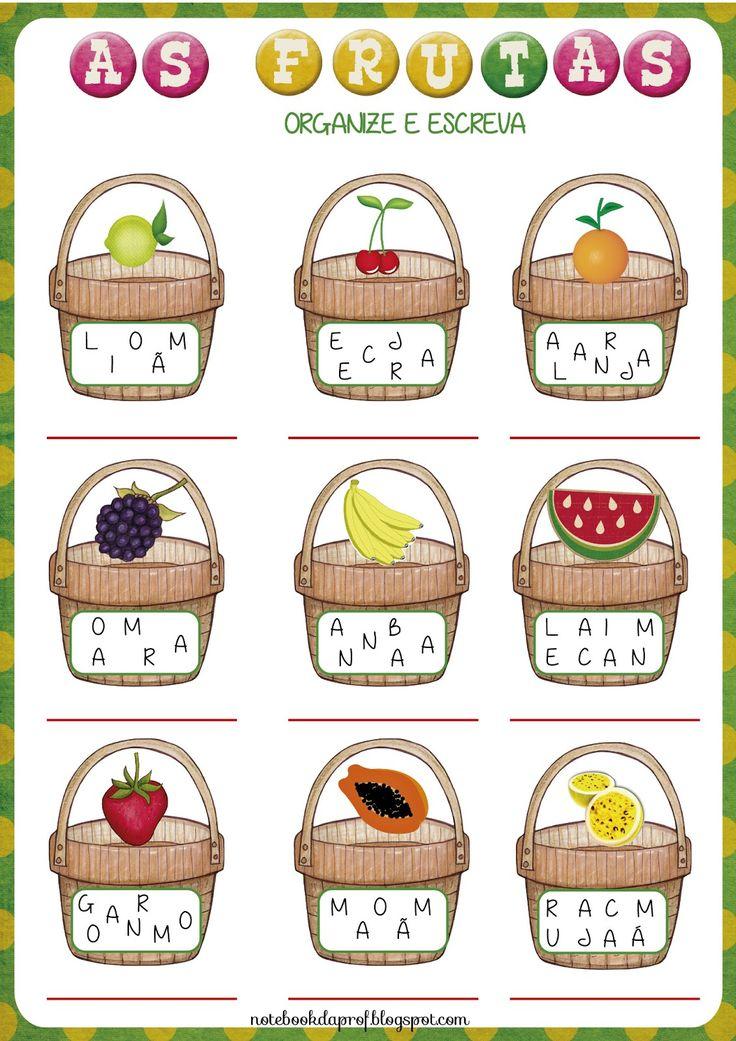 Atividade com iniciais, atividade com frutas, Projeto as frutas, Frutas, letra inicial, letras embaralhadas, formação de palavras