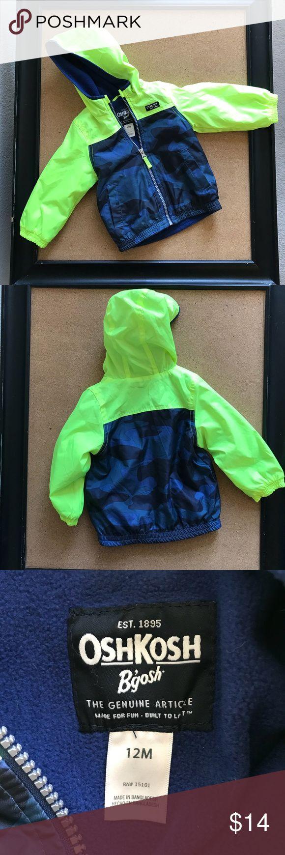 Oshkosh blue green jacket Oshkosh Bgosh blue and lime green lined water resistant jacket sz 12 M OshKosh B'gosh Jackets & Coats