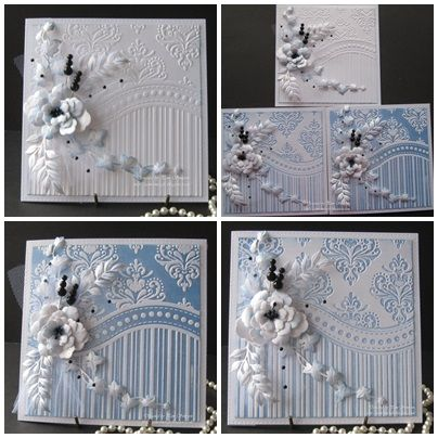One Embossing Folder! Three Cards.