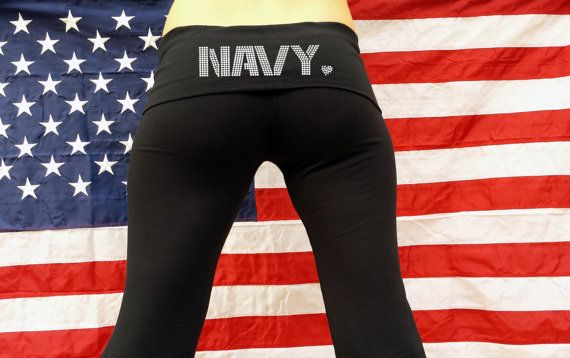 Navy Yoga Pants . Proud Navy Wife . Support the by BraveandProud