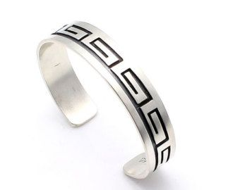 Hopi Sterling Silver Bracelet Featuring the Waves - Water Design