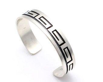 Hopi Sterling Silver Bracelet Featuring the Waves - Water Design