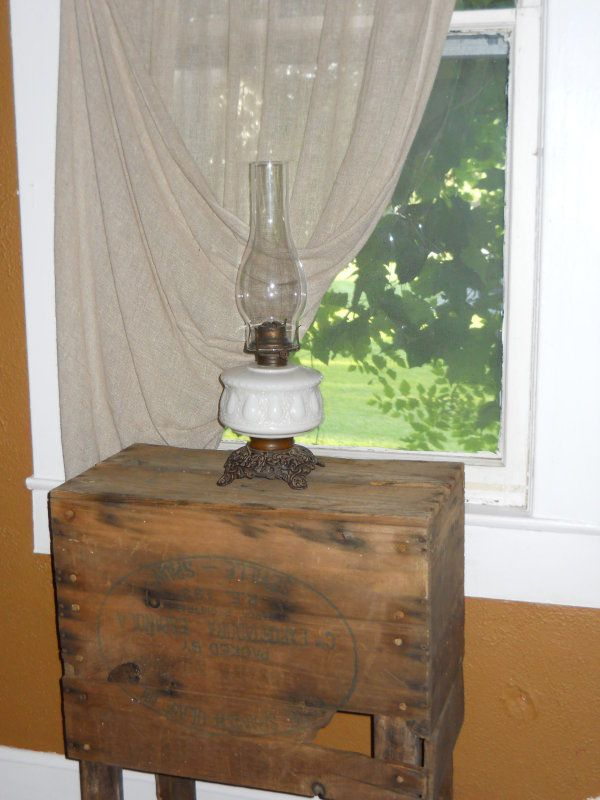 198 best antique oil lamps images on pinterest antique oil lamps the old table made from a box looks great for the table top for the oil aloadofball Image collections