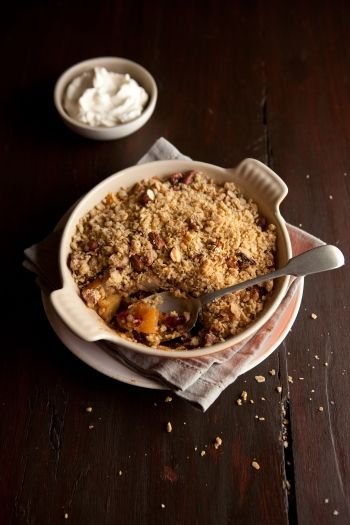 Oat and nut apple crumble, with cranberries and orange