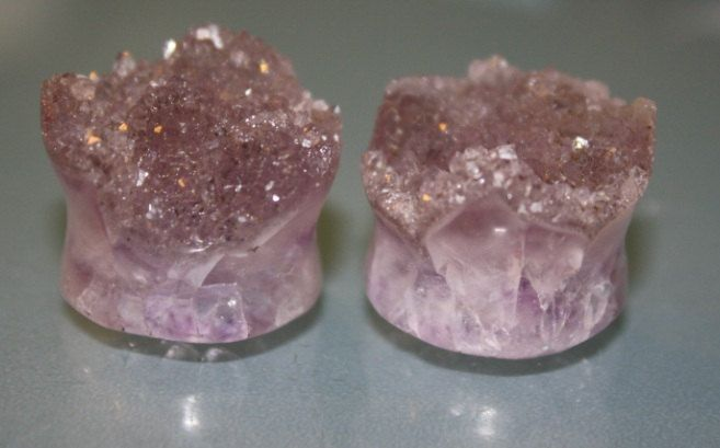 Amethyst Druzy Plugs. Because You'll need fancy gauges when you get married :)