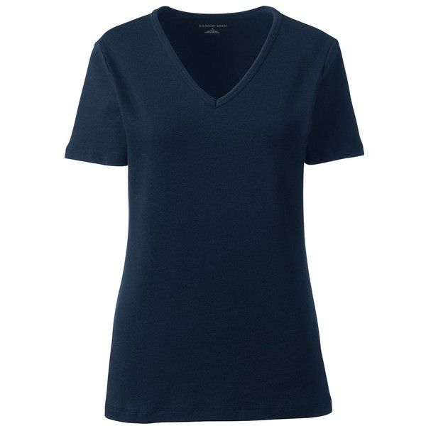 Lands' End Women's Petite Shaped Cotton V-neck T-shirt ($16) ❤ liked on Polyvore featuring tops, t-shirts, blue, cotton t shirts, blue cotton t shirts, layering tees, blue t shirt and petite t shirts