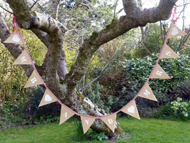 Hessian Mr and Mrs Bunting 260 cm Available to buy £39.50 or to hire from http://www.thevintagebuntinghirecompany.com