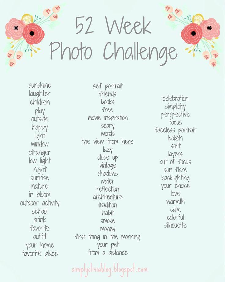 Simply Olivia Blog: 52 Week Photo Challenge, Photography, Photo List