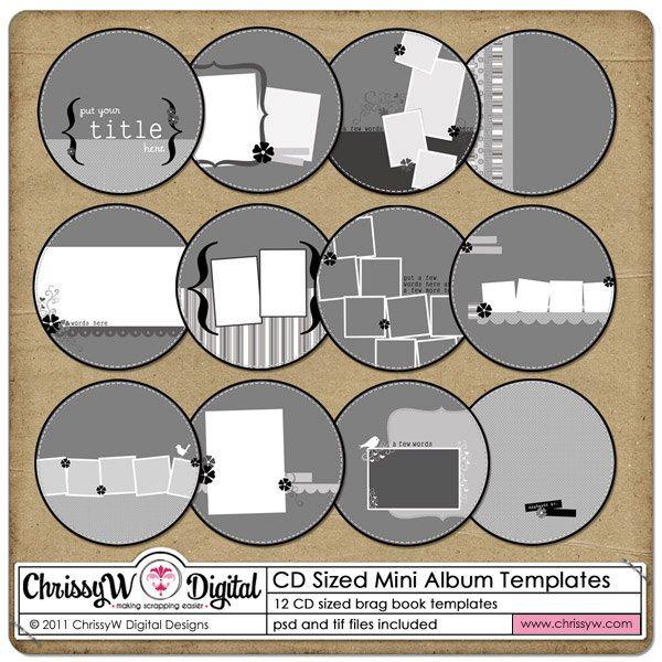 CD Sized Mini Album Digital Scrapbooking by ChrissyWDigital, $4.00