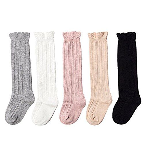 5 Pack Solid Color Baby Newborn Toddler Girls Cable Knit Knee High Stockings Cotton Socks