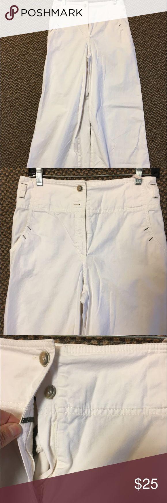 European Designer High Waist Wide Leg Cotton Pants Super trendy light-weight stretch cotton. Unlined. Contrast stitching at pockets. Wide leg. Super soft cotton blend. High waist. emozioni Pants Wide Leg