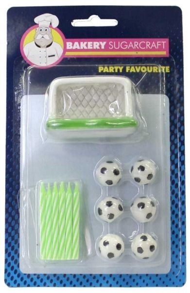 Soccer Ball Candle Set with Net Birthday Party Cake Decoration