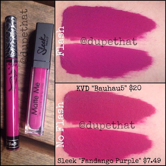 """""""Look at this dupe we've found in our collection for Kat Von D's """"Bauhau5."""" @sleekmakeup's """"Fandango Purple"""" looks totally identical to """"Bauhau5"""" on the…"""""""