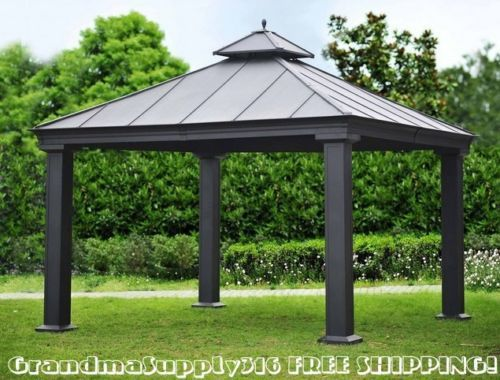 New outdoor metal hardtop gazebo 12 39 x 12 39 x 12 39 canopy for Pergola aluminum x
