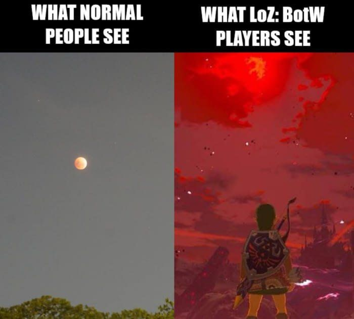 """""""The blood moon rises once again. Please be careful Link"""""""
