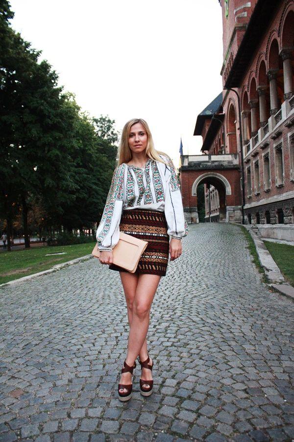 traditional Romanian blouse on Romanian actress Dana Rogoz