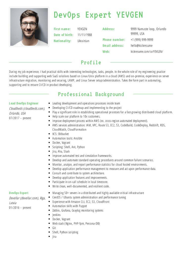 Devops Resume in 2020 Resume examples, Software engineer