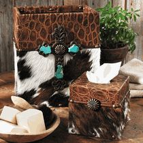 Cowhide & Croc Leather Waste Basket and Tissue Box