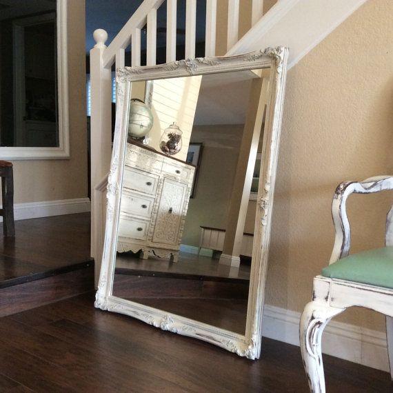 shabby chic mirror large white mirror vintage framed mirror french provincial mirror nursery decor home decor