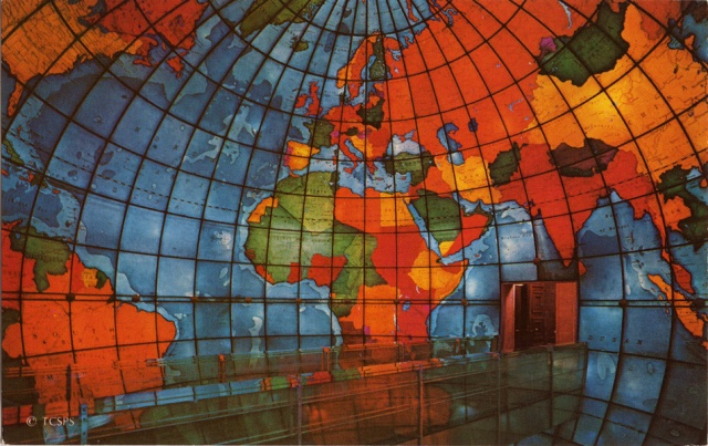 At the Mary Baker Eddy Library in Boston, MA is the Mapparium - anilluminated, stained glass globe 30ft in diameterthat you can walk through via an elevated bridge.