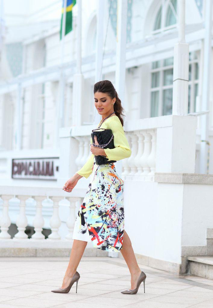 Look Fashion Rio: Saia midi estampada