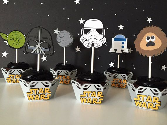 Star Wars cupcake toppers - Set of 12 | Star Wars themed birthday party decorations | Star Wars baby shower | Star Wars cupcake picks.