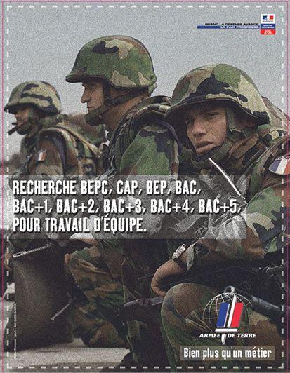 En 2002 le service national disparait et nait une armée de métier. Campagne de recrutement de l'armée de Terre 2002-2003 - Crédits : Armée de Terre/recrutement